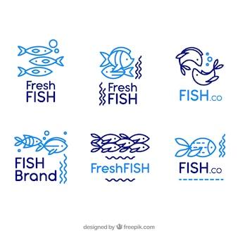 Collezione di loghi di pesce per marchi aziendali