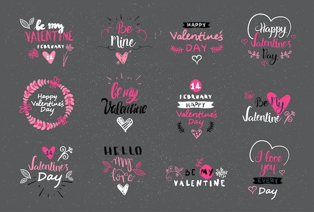 Collezione di loghi, etichette e adesivi disegnati a mano di san valentino lettering design set