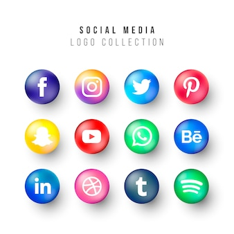 Collezione di loghi social media con cerchi realistici