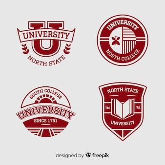 Collezione di loghi universitari in stile piatto