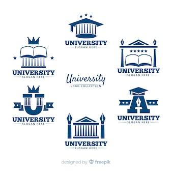Collezione di loghi universitari piatti
