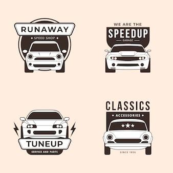 Collezione di logo auto design piatto