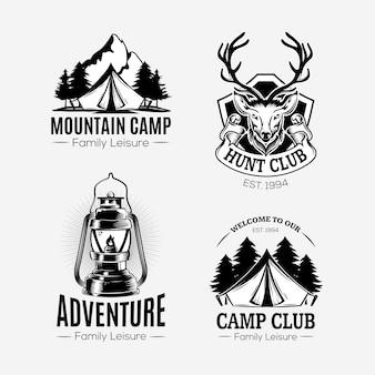 Collezione di logo avventura incolore disegnata a mano