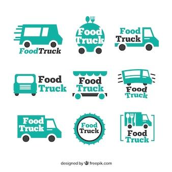 Collezione di logo camion alimentari con stile minimalista