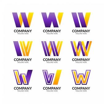 Collezione di logo colorato lettera w