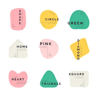 Collezione di logo dal design minimale con colori pastello