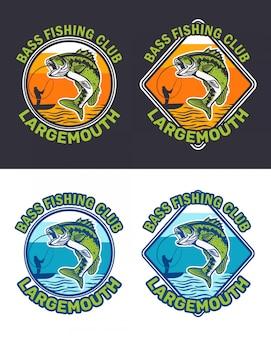 Collezione di logo del club di pesca della spigola