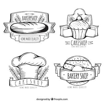 Collezione di logo del negozio di panetteria disegnati a mano