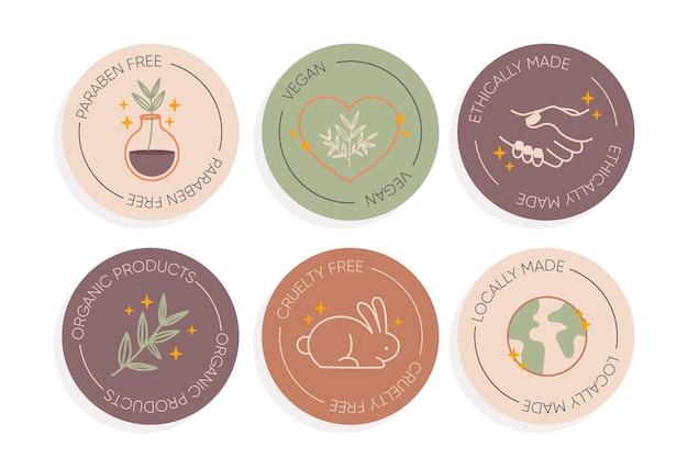 Collezione di logo di cosmetici naturali