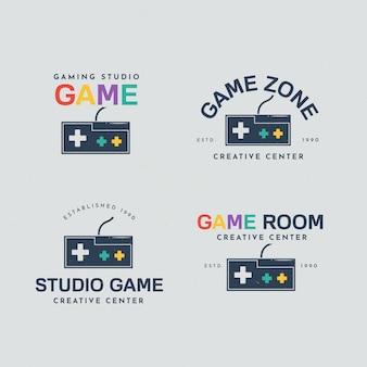 Collezione di logo di gioco con design piatto