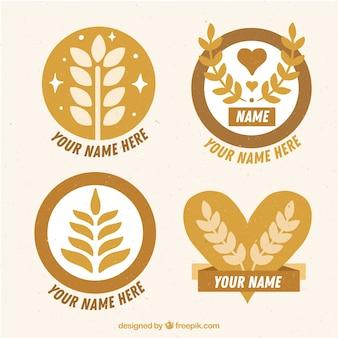 Collezione di logo di grano disegnato a mano