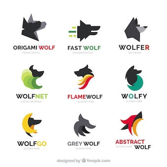Collezione di logo di lupo piatto moderno
