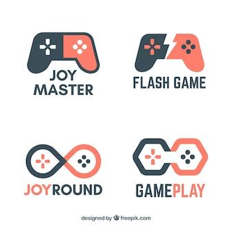 Collezione di logo di videogiochi con design piatto