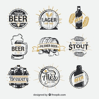 Collezione di logo disegnato a mano birra