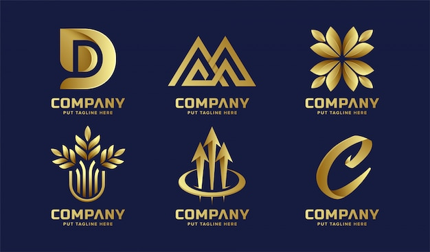 Collezione di logo dorato astratto business