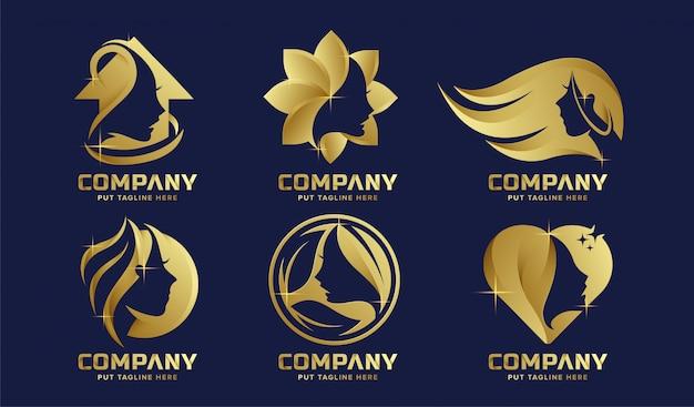 Collezione di logo femminile di lusso premium per l'azienda