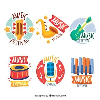 Collezione di logo festival musicale con design piatto