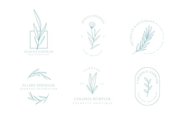 Collezione di logo floreale minimalista