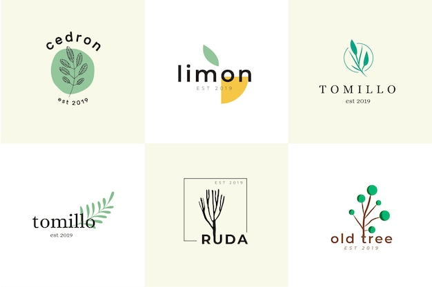 Collezione di logo minimal business naturale