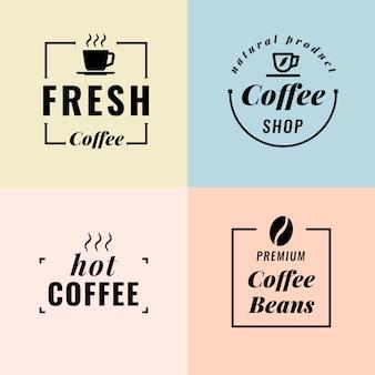 Collezione di logo minimal colorato in stile retrò