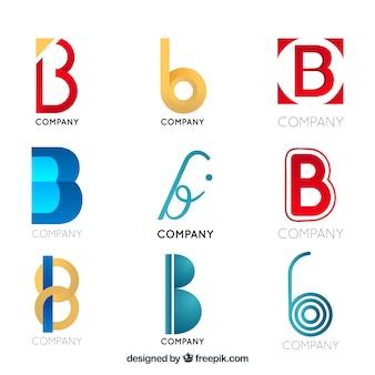 Collezione di logo moderna lettera b