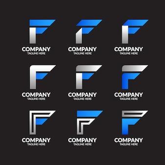 Collezione di logo moderno lettera f.