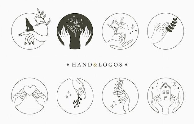 Collezione di logo occulto di bellezza con mano, cuore, fiore, casa in cerchio.