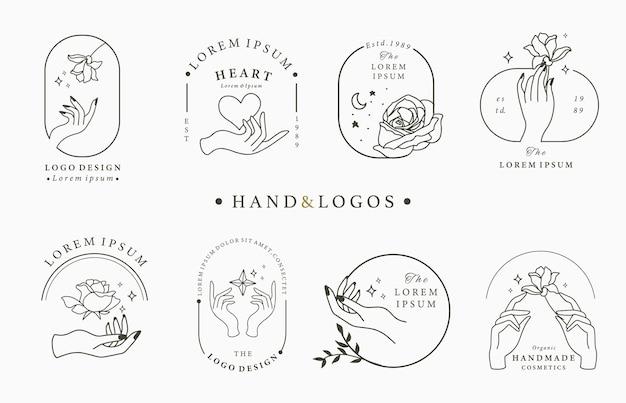 Collezione di logo occulto di bellezza con mano, geometrico, rosa, luna, stella, fiore.