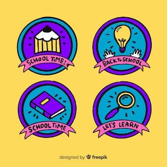 Collezione di logo scuola disegnata a mano