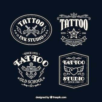 Collezione di logo tatuaggio bianco