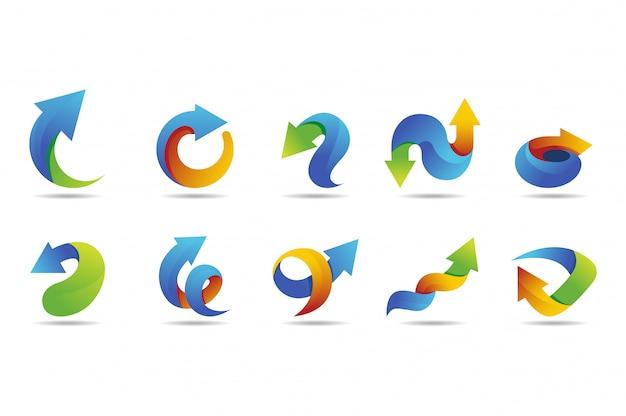 Collezione di logo vettoriale freccia con stile colorato