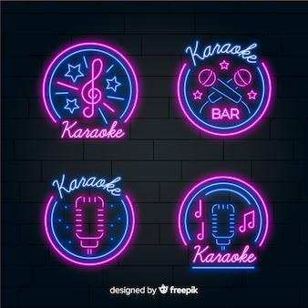 Collezione di luce al neon karaoke disegnata a mano