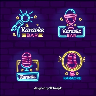 Collezione di luci al neon di karaoke club