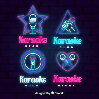Collezione di luci al neon karaoke