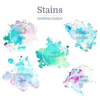 Collezione di macchie di nozze macchie acquerello