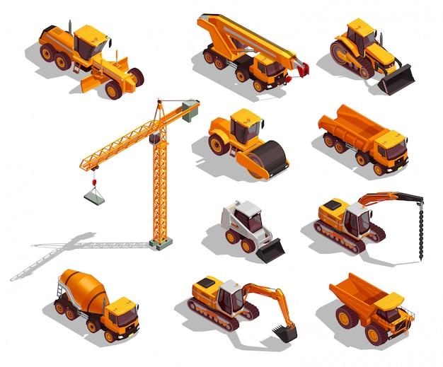 Collezione di macchine edili giallo isometrico