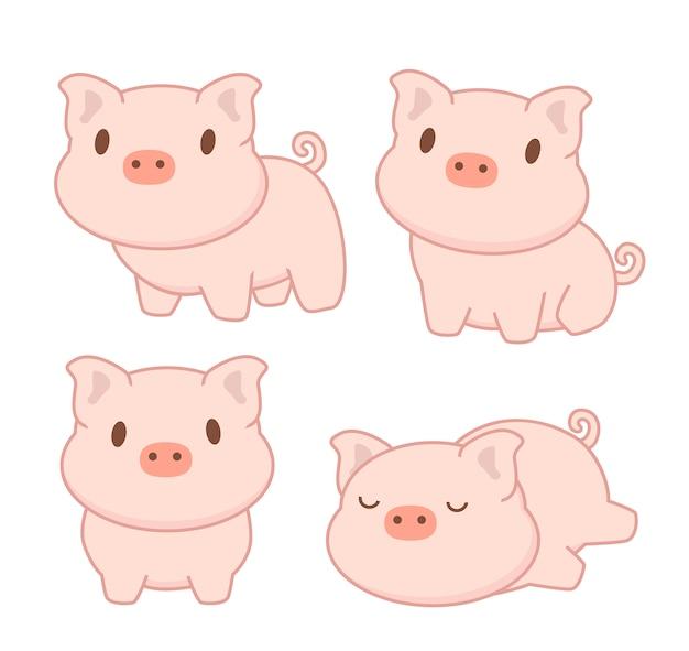 Collezione di maiale carino