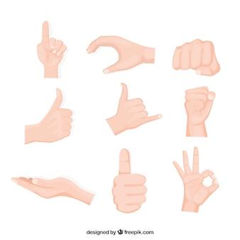 Collezione di mani con diverse pose in stile disegnato a mano