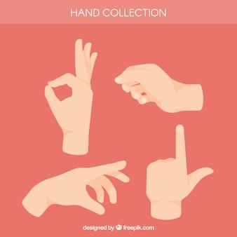Collezione di mani con diverse pose in stile piano