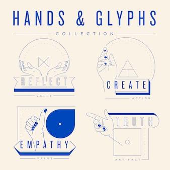 Collezione di mani e glifi.