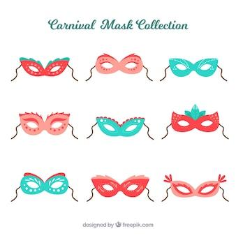 Collezione di maschere carnevalesche piatte