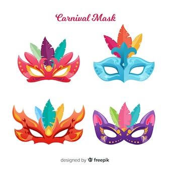 Collezione di maschere di carnevale colorato