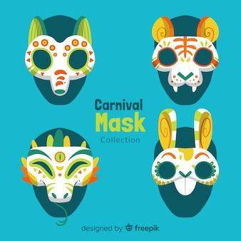 Collezione di maschere di carnevale disegnati a mano