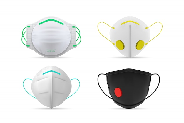 Collezione di maschere mediche respiratorie realistiche