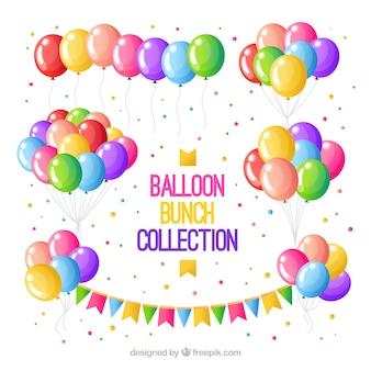 Collezione di mazzi di palloncini colorati in stile 2d