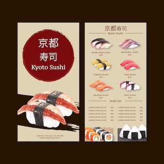 Collezione di menu di sushi per ristorante. modello con illustrazioni ad acquerelli alimentari.