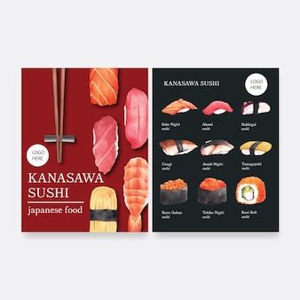 Collezione di menu di sushi per ristorante.