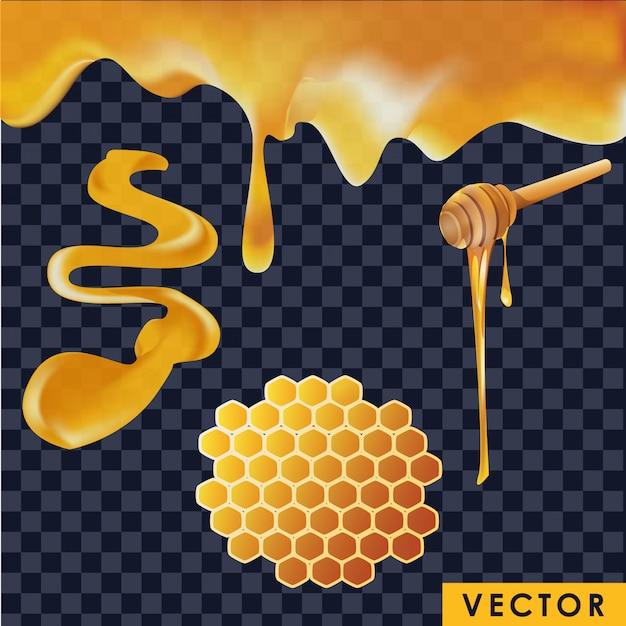 Collezione di miele realistica