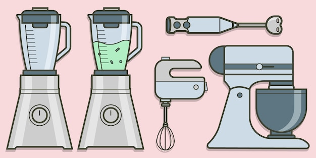 Collezione di miscelatori e miscelatori in design piatto. insieme di elementi di vettore di infografica. icone per il tuo prodotto o illustrazione