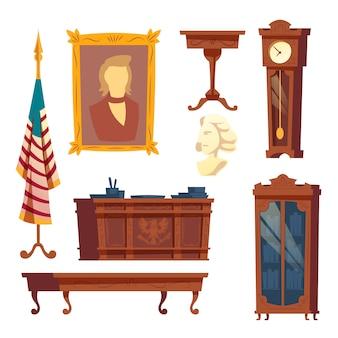 Collezione di mobili di cartone animato dalla casa bianca